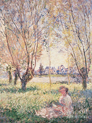 Woman Seated Under The Willows Print by Claude Monet