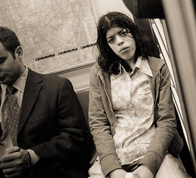 Woman Sitting On A Subway And Staring, 2004 Bw Photo Print by Stephen Spiller