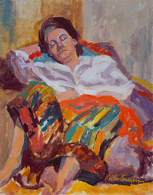 Woman Sleeping Print by Keith Burgess