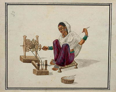 Woman Spinning Cotton Print by British Library
