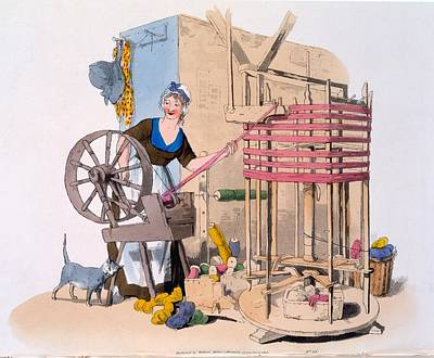 Woman Spinning Wool Onto A Rotating Print by William Henry Pyne