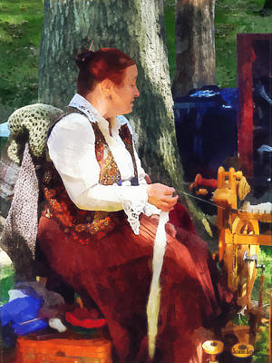 Wheel Photograph - Woman Spinning Yarn At Flea Market by Susan Savad