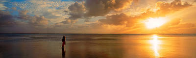 Getting Away From It All Photograph - Woman Standing On Sandbar Looking by Panoramic Images