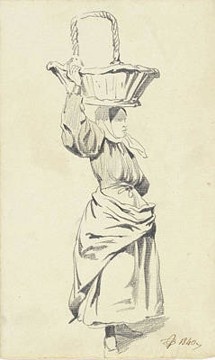 Loon Drawing - Woman Standing With Basket On Head, Pieter Van Loon by Quint Lox