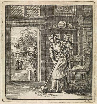Woman Sweeps The Floor Of A House, Jan Luyken Print by Jan Luyken And Wed. Pieter Arentsz & Cornelis Van Der Sys Ii