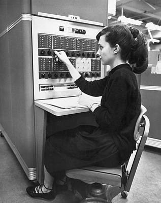 Woman Using Ibm 650 Computer Print by Underwood Archives