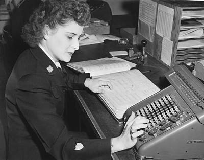 Woman Using Rotary Calculator Print by Underwood Archives