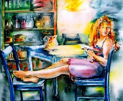 Woman Waiting No 2 Print by Trudi Doyle