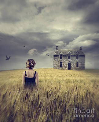 Woman Walking In Wheat Field With Abandoned House In Background Print by Sandra Cunningham