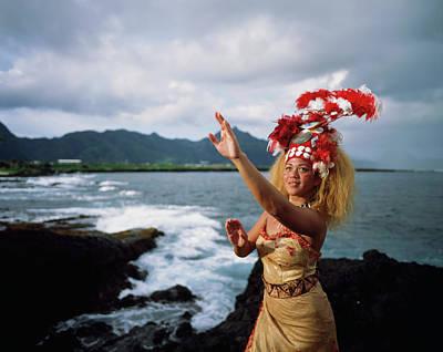 Woman Wearing A Traditional Samoan Print by David Kirkland