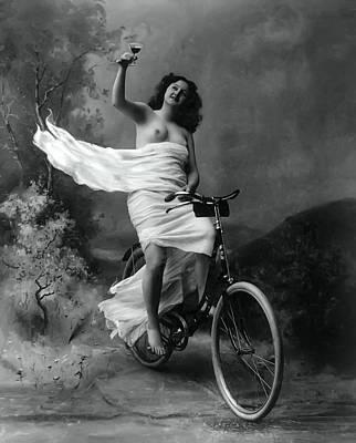 Woman - Wine - Bicycle  1897 Print by Daniel Hagerman