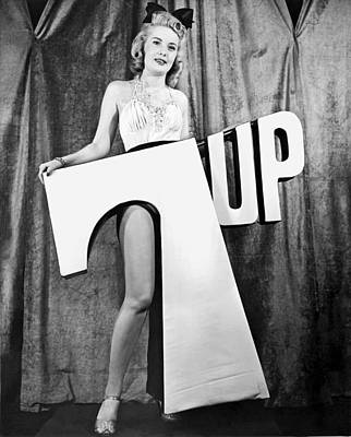 Woman With 7 Up Logo Print by Underwood Archives