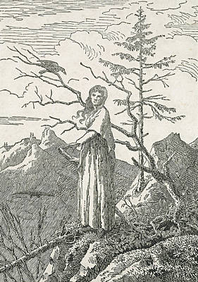 Woman With A Raven On The Edge Of A Precipice Print by Caspar David Friedrich