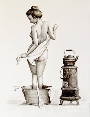 Wash Drawing - Woman With A Towel 1890s by Art By - Ti   Tolpo Bader
