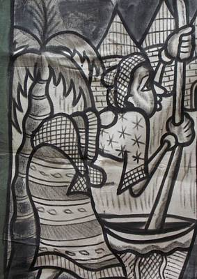 Woman With Baby On Her Back Pound The Yam. Print by Okunade Olubayo