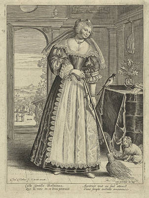 Woman With Broom In An Interior, Theodor Matham Print by Theodor Matham And C. David