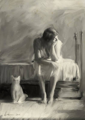 Cat Woman Painting - Woman With Cat by H James Hoff