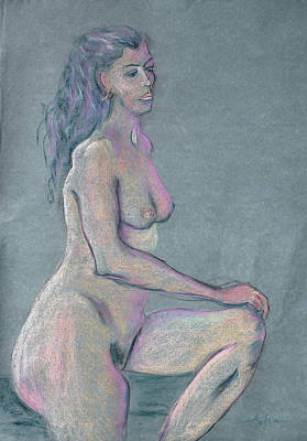 Woman With Long Dark Hair In Purple Original by Asha Carolyn Young