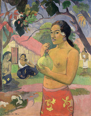 Mango Painting - Woman With Mango by Paul Gauguin