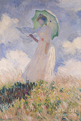 Spring Landscape Painting - Woman With Parasol Turned To The Left by Claude Monet