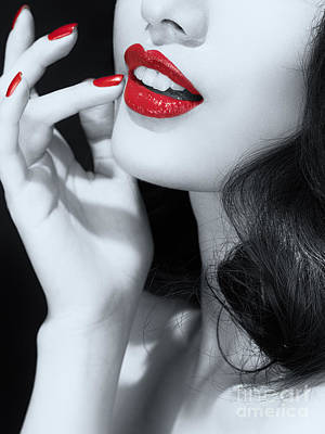 Woman With Red Lipstick Closeup Of Sensual Mouth Black And White Print by Oleksiy Maksymenko