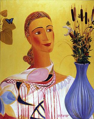 Woman With Shawl Original by Israel Tsvaygenbaum