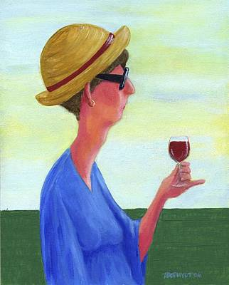 Woman With Wine Original by Theresa Johnson