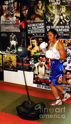 Drawing Photograph - Woman's Boxing Champion Filipino American Ana Julaton Working Out by Jim Fitzpatrick