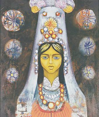 Womans Head, 1968 Oil On Canvas Print by Radi Nedelchev