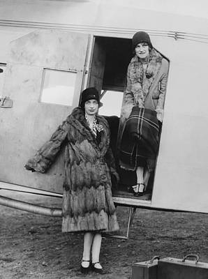 Enjoyment Photograph - Women Airline Passengers by Underwood Archives