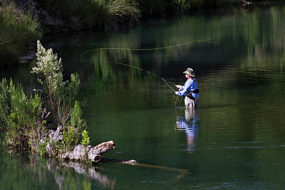 Women Fly-fishing In The South Llano Print by Larry Ditto