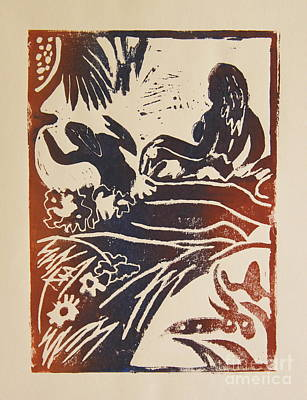Lino-cut Painting - Women I A La Gauguin by Christiane Schulze Art And Photography