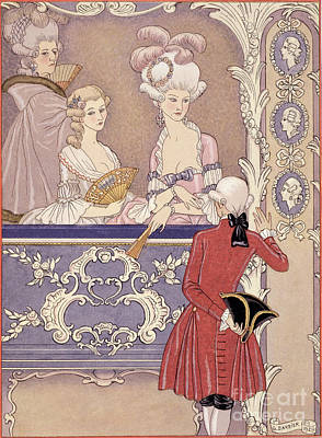 Women In A Theater Box Print by Georges Barbier