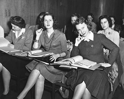 Women In Airline Class Print by Underwood Archives