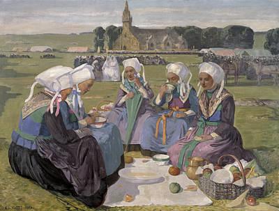 Femme Photograph - Women Of Plougastel At The Pardon Of Notre-dame De La Palud, 1903 Oil On Canvas by Charles Cottet