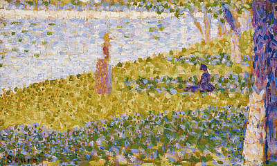 Master Painting - Women On The River Bank by Georges Pierre Seurat