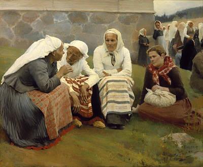 Women Outside The Church - Finland Print by Mountain Dreams