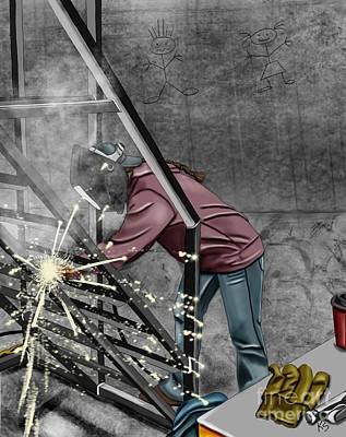 Welded Art Painting - Women Welders 3 by Karen Sheltrown