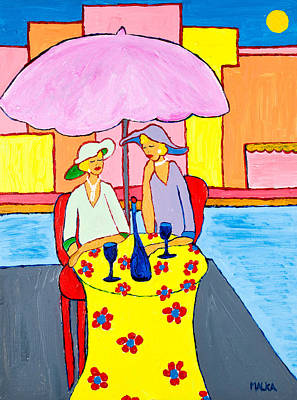 Table Cloth Painting - Women Who Wine by Marlene MALKA Harris