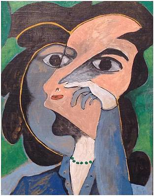 Women With Green Necklace Print by John Andro Avendano