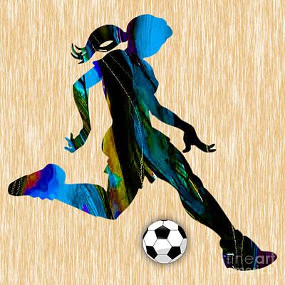 Soccer Mixed Media - Womenn's Soccer by Marvin Blaine