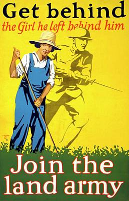 Women's Land Army Recruitment Poster Print by Library Of Congress