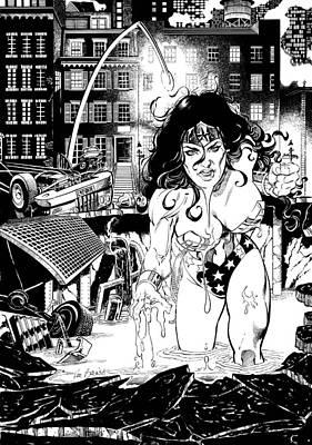 Wonder Woman Battle Print by Ken Branch