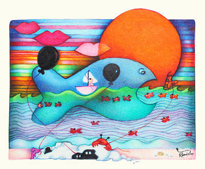 Child Painting - Woobies Character Baby Art Colorful Whimsical Whale Design By Romi Neilson Whale by Megan Duncanson