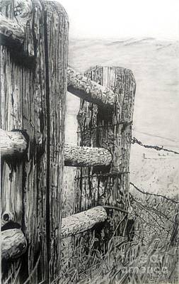 Weatherworn Drawing - Wood And Wire by Jackie Mestrom