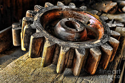 Machinery Photograph - Wood Gears by Olivier Le Queinec