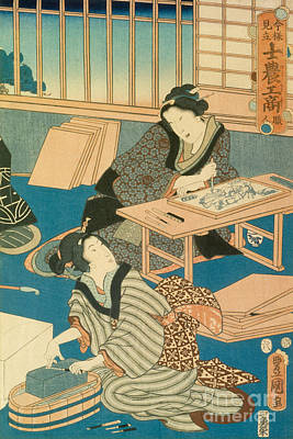 Woodblock Painting - Woodblock Production by Japanese School