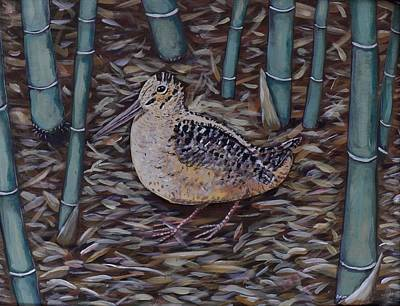 Woodcock Painting - Woodcock In The Bamboo by Richard Goohs
