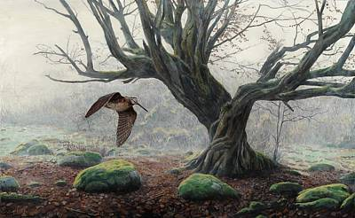 Woodcock Painting - Woodcock In The Mist by Troels Kirk