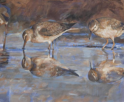 Woodcock Painting - Woodcocks In A Pond by Anke Classen